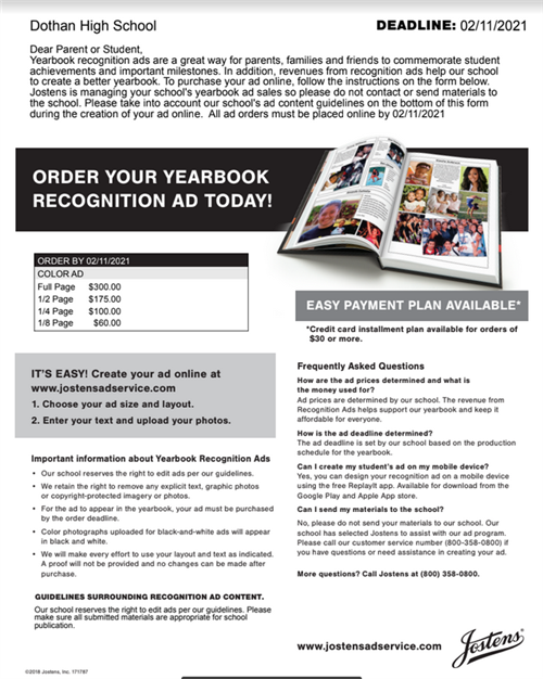 Yearbook ad info.
