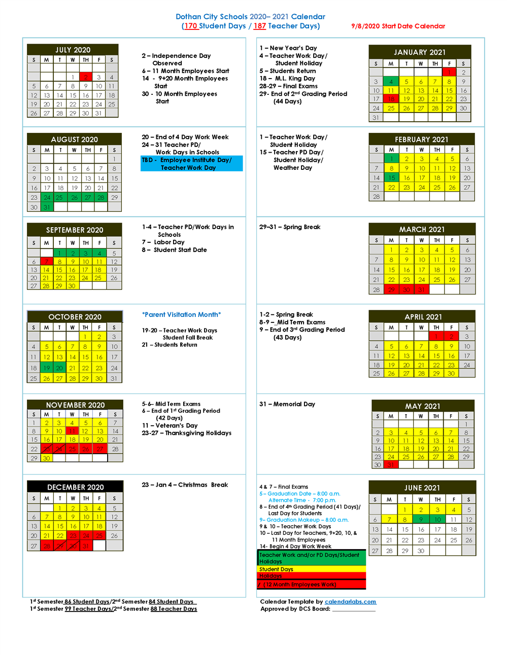 Dothan City Schools Releases 2020-2021Updated School Calendar